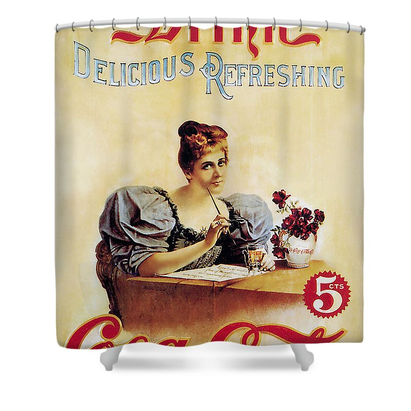 Drink Shower Curtain featuring the photograph Coca - Cola Vintage Poster - Drink Delicious Refreshing by Gianfranco Weiss