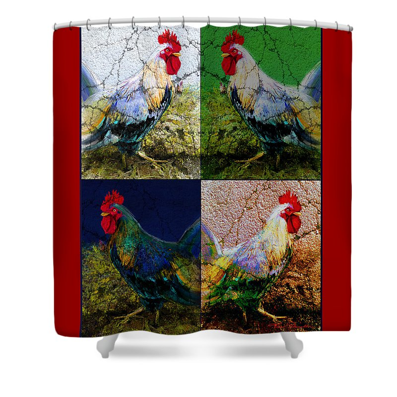 Theo Danella Shower Curtain featuring the painting Cock 2 by Theo Danella