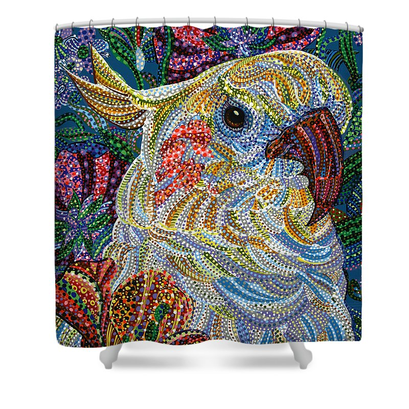 Cockatiel Shower Curtain featuring the painting Cockatiel by Erika Pochybova