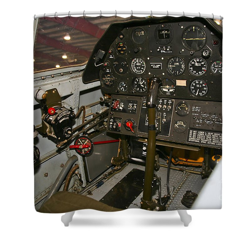 Horizontal Shower Curtain featuring the photograph Cockpit Of A P-40e Warhawk by Scott Germain