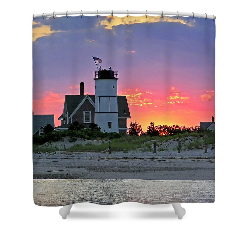 Cocktail Shower Curtain featuring the photograph Cocktail Hour At Sandy Neck Lighthouse by Charles Harden