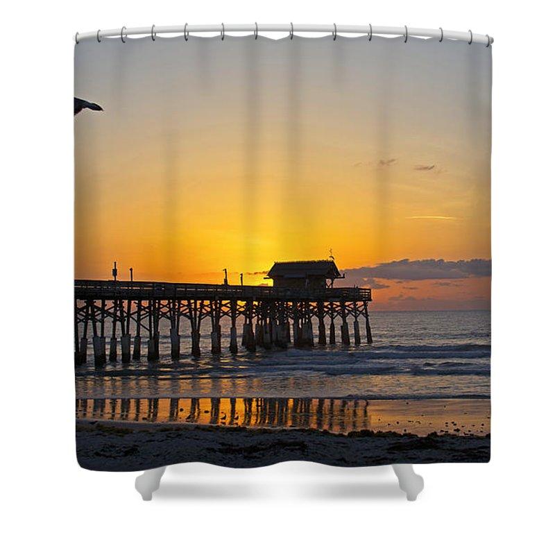 #cocobeach #florida #ocean #clouds #sunrise #seagull #streetart #zazzle #photog #togs #fineart #deals Shower Curtain featuring the photograph Coco Beach-760 by Steve Lipson