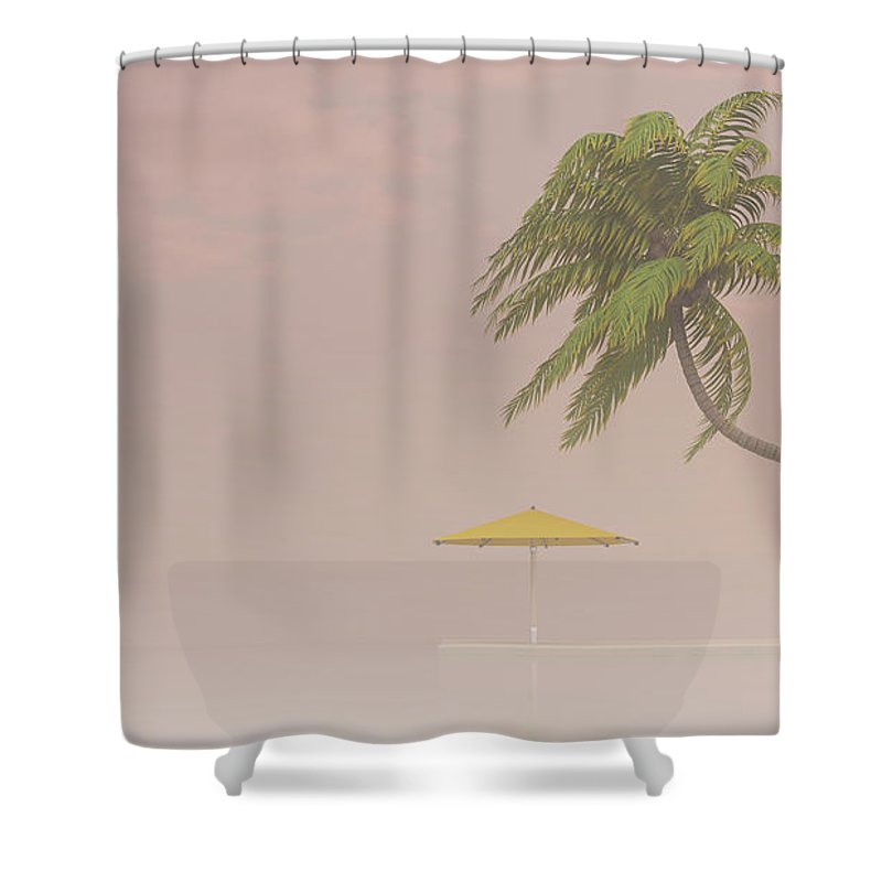 Tranquility Shower Curtain featuring the digital art Coconut Palm And Sunshade In Haze, 3d by Westend61