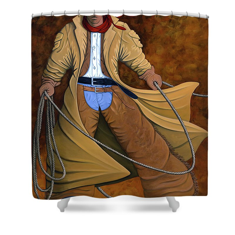 Contemporary Western Shower Curtain featuring the painting Cody by Lance Headlee