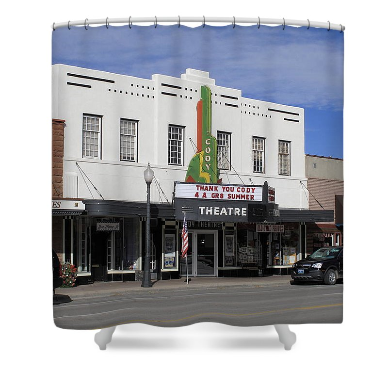 America Shower Curtain featuring the photograph Cody Wyoming Theater by Frank Romeo