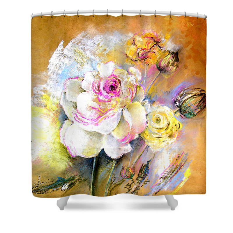 Still Life Shower Curtain featuring the painting Coeur De Rose by Miki De Goodaboom