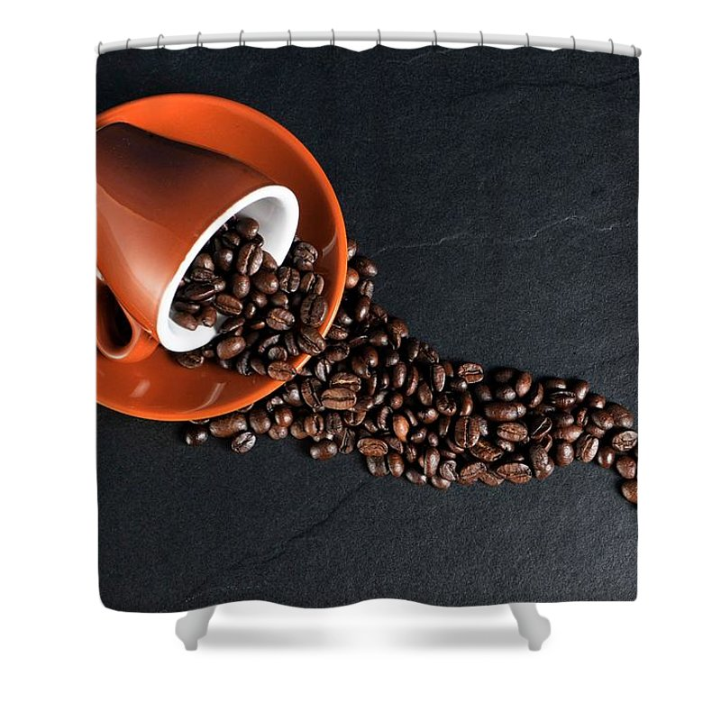 Bean Shower Curtain featuring the photograph Coffe by FL collection