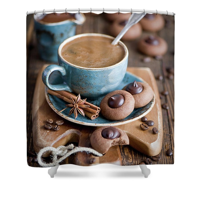 Temptation Shower Curtain featuring the photograph Coffee And Cookies by Verdina Anna