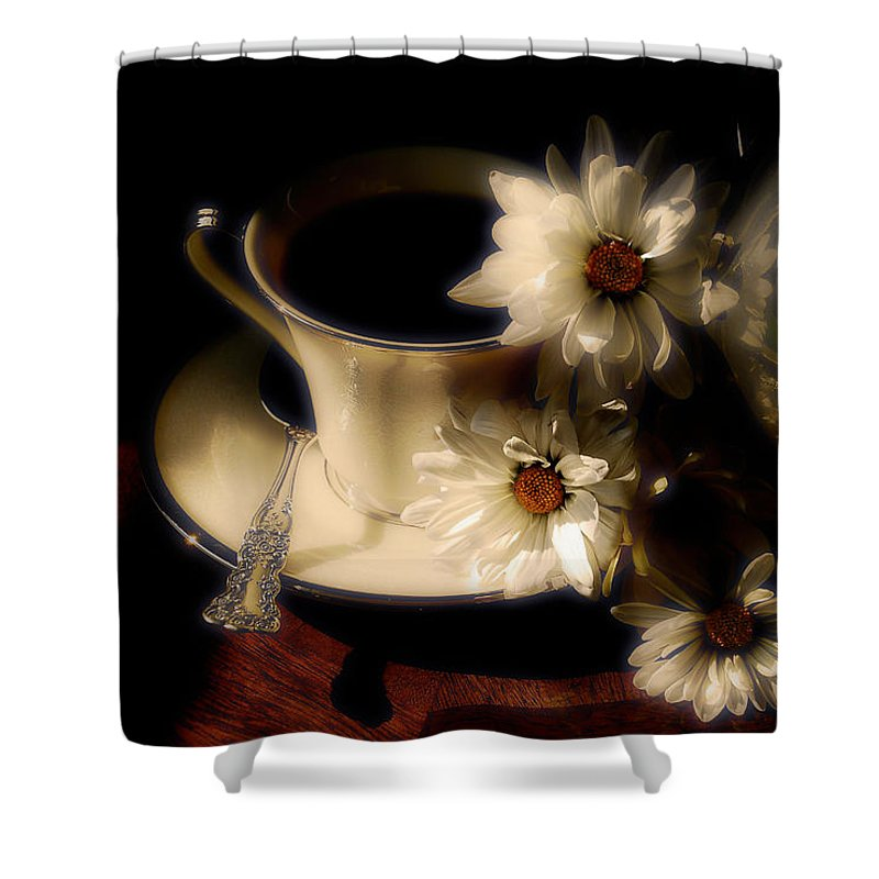 Coffee Shower Curtain featuring the photograph Coffee and Daisies by Lois Bryan