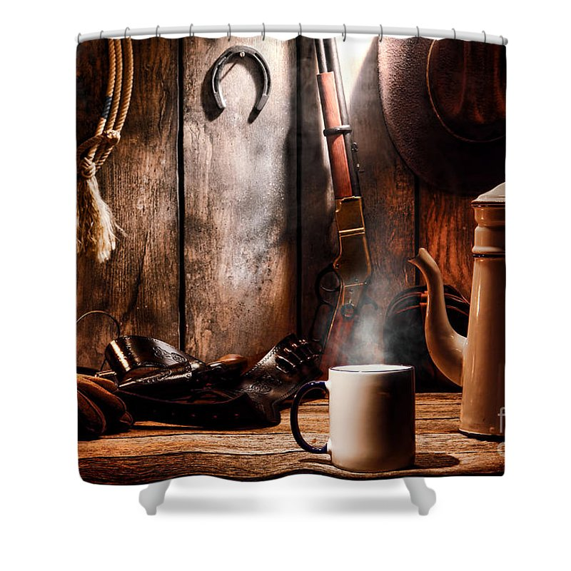 Coffee Shower Curtain Featuring The Photograph At Cabin By Olivier Le Queinec