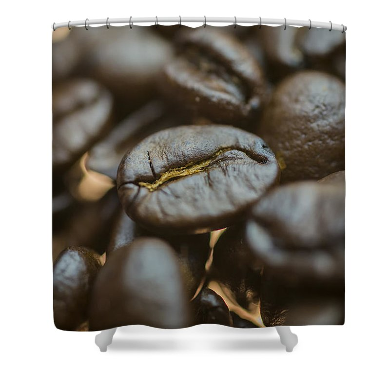 Coffee Beans Shower Curtain featuring the photograph Coffee Beans Macro 3 by David Haskett II