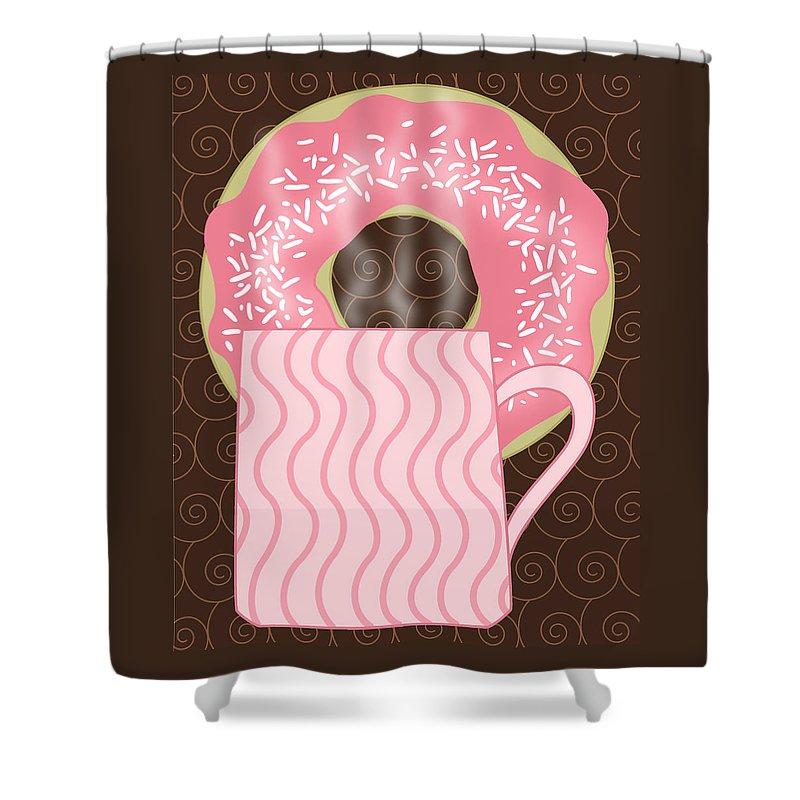 Coffee Break Shower Curtain featuring the digital art Coffee Break by Alison Stein