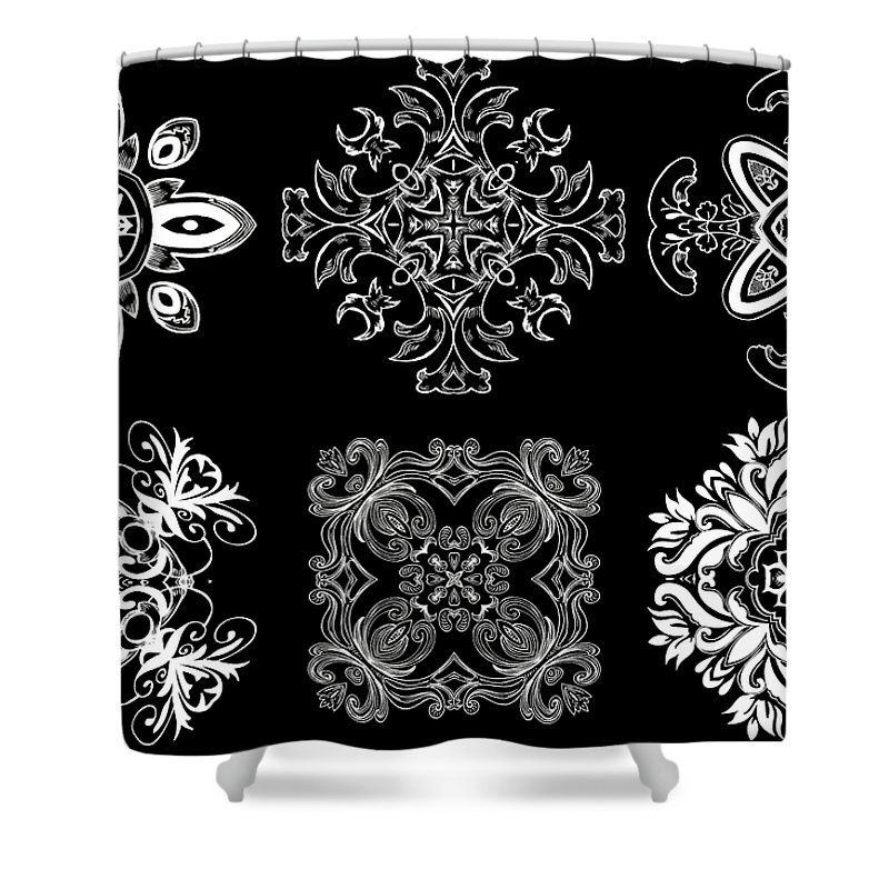 Intricate Shower Curtain featuring the digital art Coffee Flowers Ornate Medallions Bw 6 Peice Collage by Angelina Vick