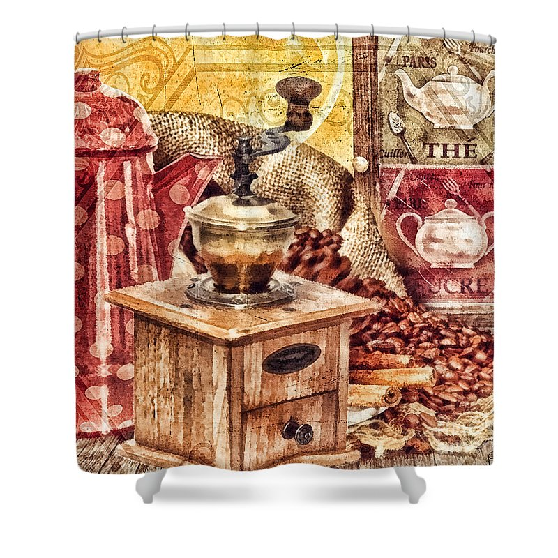 Coffee Mill Shower Curtain featuring the painting Coffee Mill by Mo T