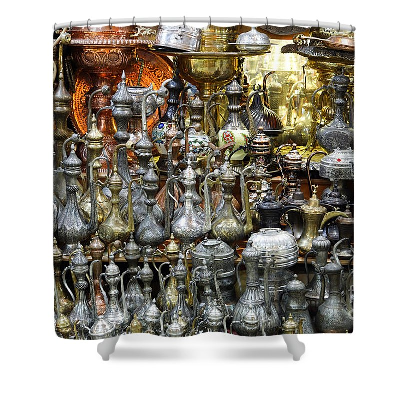Coffee Shower Curtain featuring the photograph Coffee Pots At The Grand Bazaar In Istanbul Turkey by Robert Preston