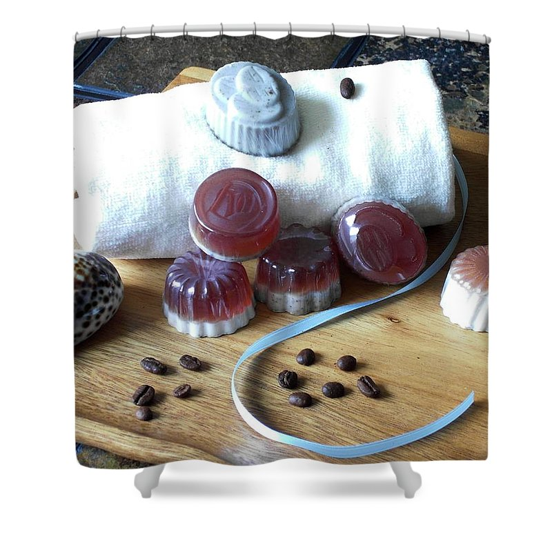 Shell Shower Curtain featuring the photograph Coffee Soap by Anastasiya Malakhova