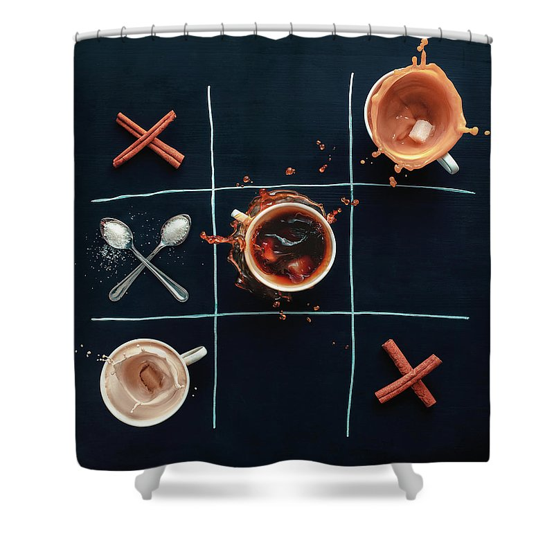 Milk Shower Curtain featuring the photograph Coffee Tic-tac-toe by Dina Belenko Photography