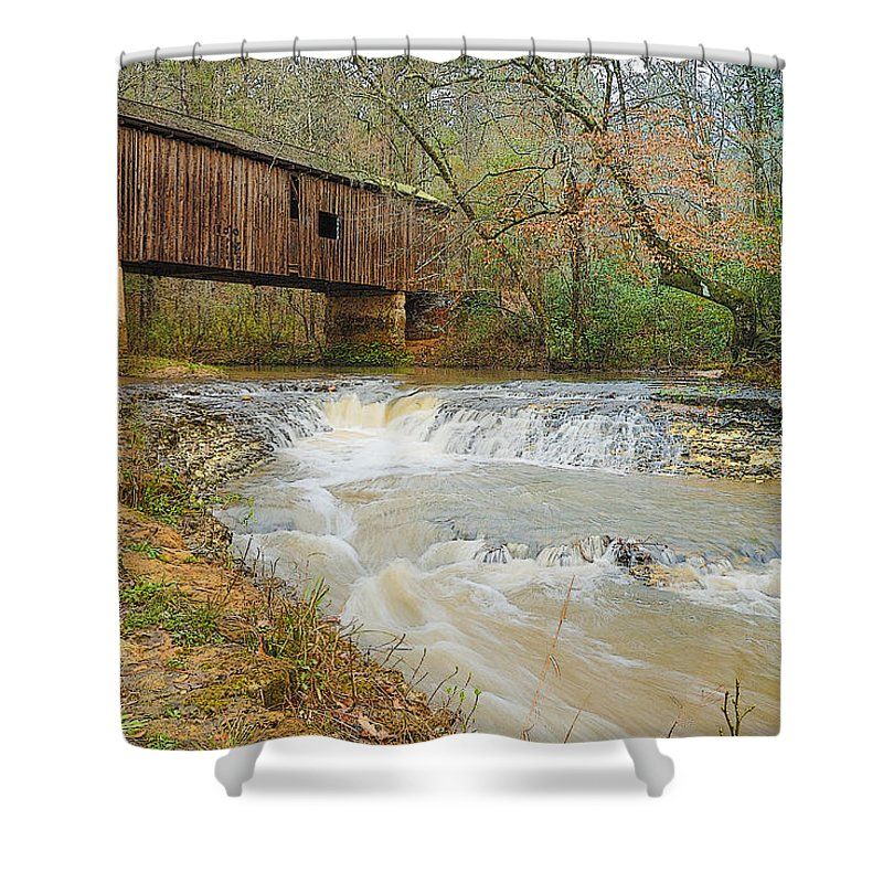 Georgia Shower Curtain featuring the photograph Coheelee Creek Covered Bridge Georgia by Charles Beeler