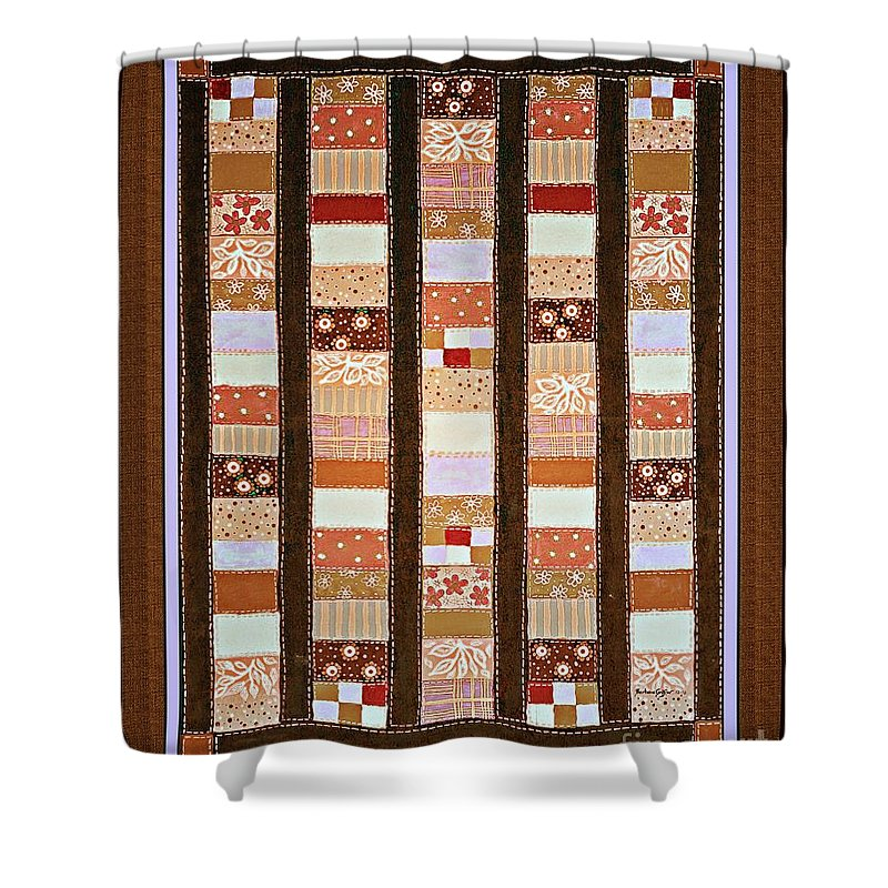 Coin Quilt Shower Curtain featuring the painting Coin Quilt - Painting - Brown And White Patches by Barbara Griffin