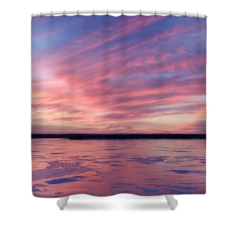 Branched Oak Lake Shower Curtain featuring the photograph Cold Fire by Caryl J Bohn