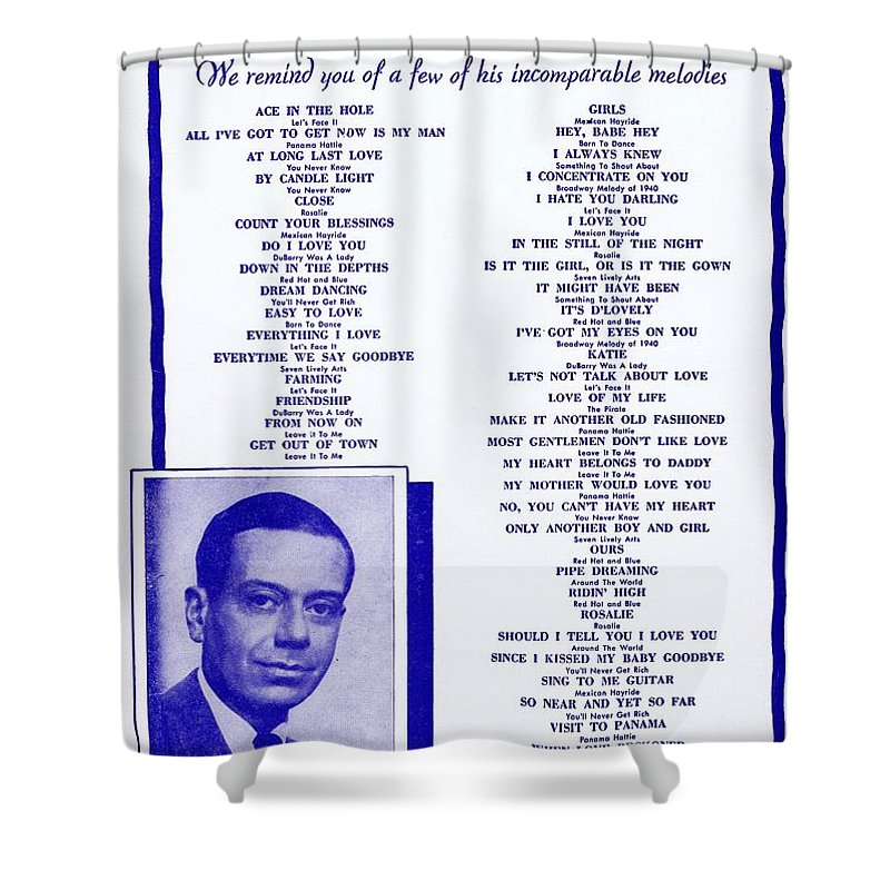 Nostalgia Shower Curtain featuring the photograph Cole Porter by Mel Thompson