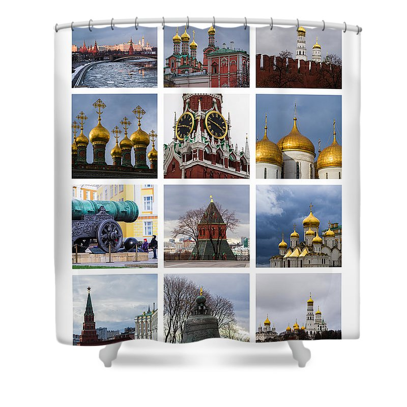 Annunciation Shower Curtain featuring the photograph Collage Moscow Kremlin 1 - Featured 3 by Alexander Senin