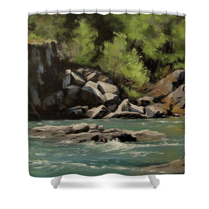 River Shower Curtain featuring the painting Colliding Rivers by Karen Ilari