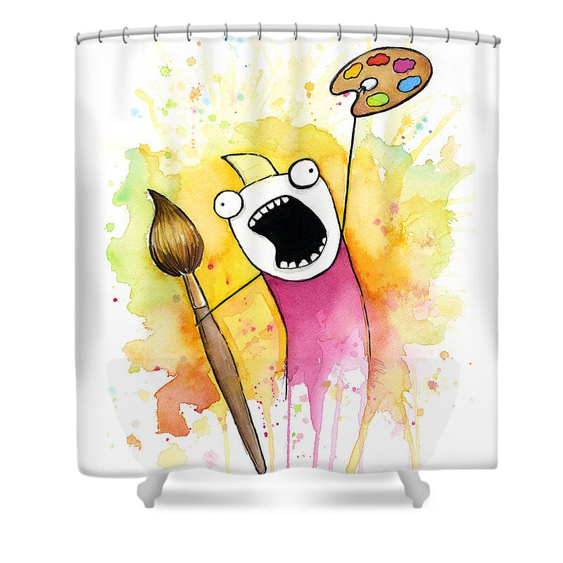 All The Things Shower Curtain featuring the painting Color ALL the Water by Olga Shvartsur