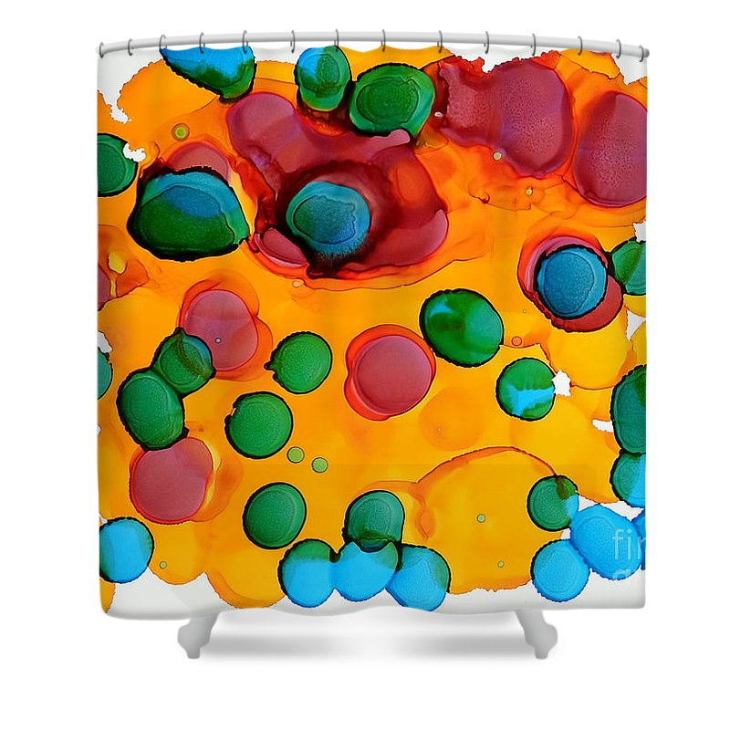 Alcohol Ink Shower Curtain featuring the painting Color Bubbles by Vicki Housel