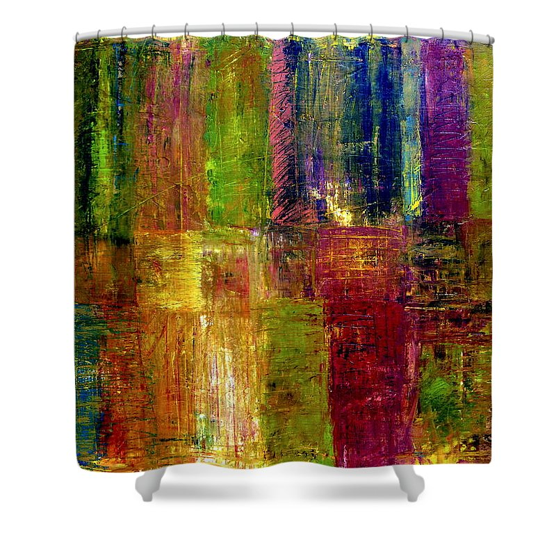 Abstract Shower Curtain featuring the painting Color Panel Abstract by Michelle Calkins
