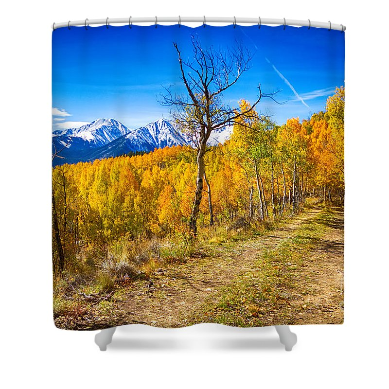 Snow Shower Curtain featuring the photograph Colorado Backcountry Autumn View by James BO Insogna