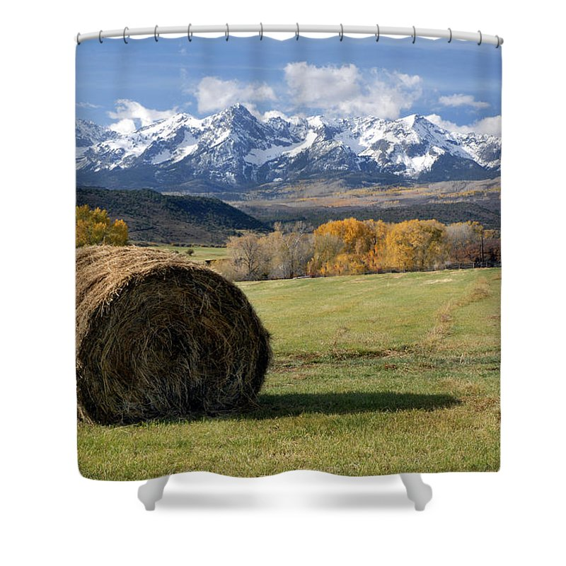 Colorado Shower Curtain featuring the photograph Colorado Haybale by Dave Mills