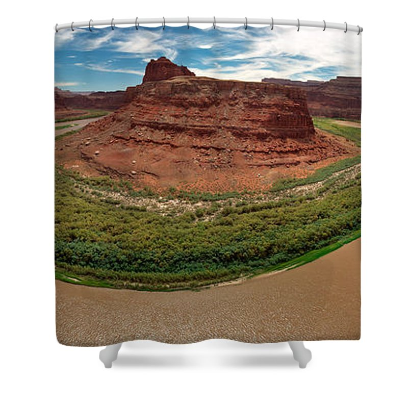 3scape Photos Shower Curtain featuring the photograph Colorado River Gooseneck by Adam Romanowicz