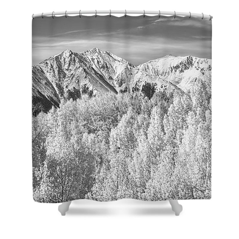 Snow Shower Curtain featuring the photograph Colorado Rocky Mountain Autumn Beauty Bw by James BO Insogna