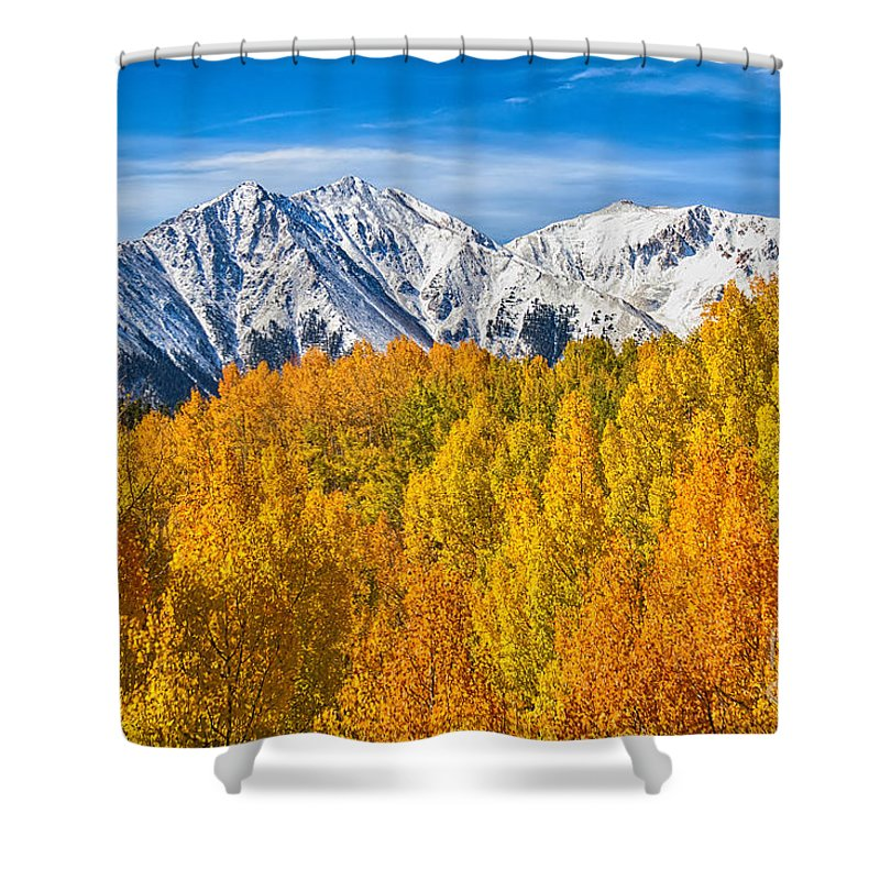 Snow Shower Curtain featuring the photograph Colorado Rocky Mountain Autumn Beauty by James BO Insogna
