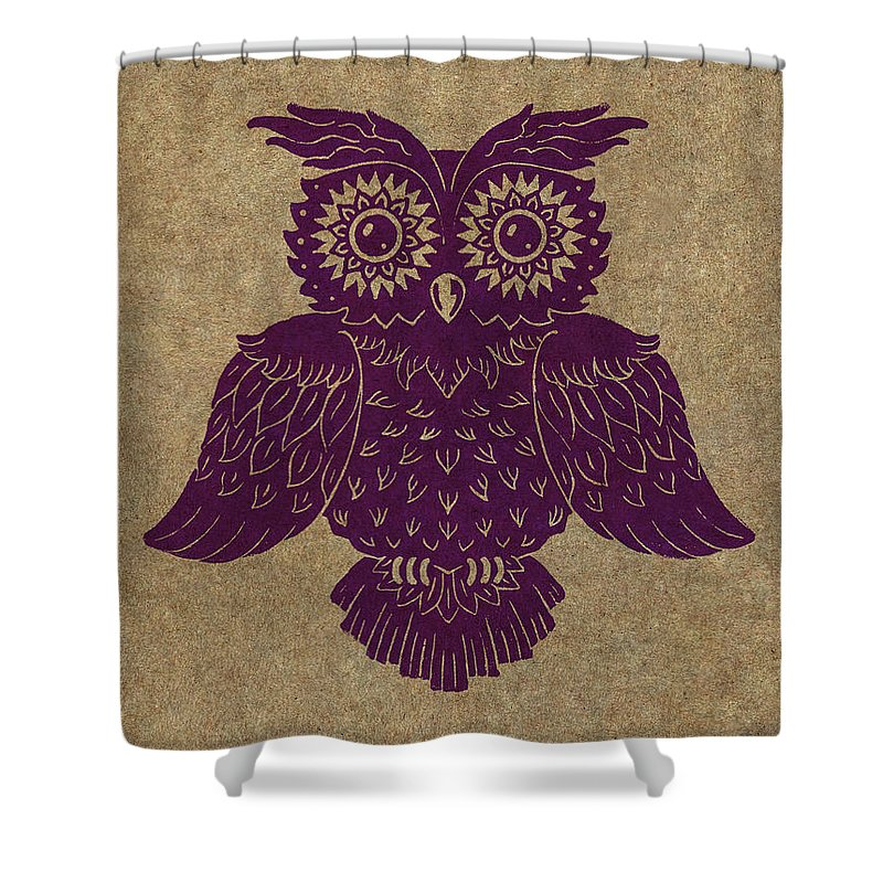 Owl Shower Curtain featuring the painting Colored Owl 1 Of 4 by Kyle Wood