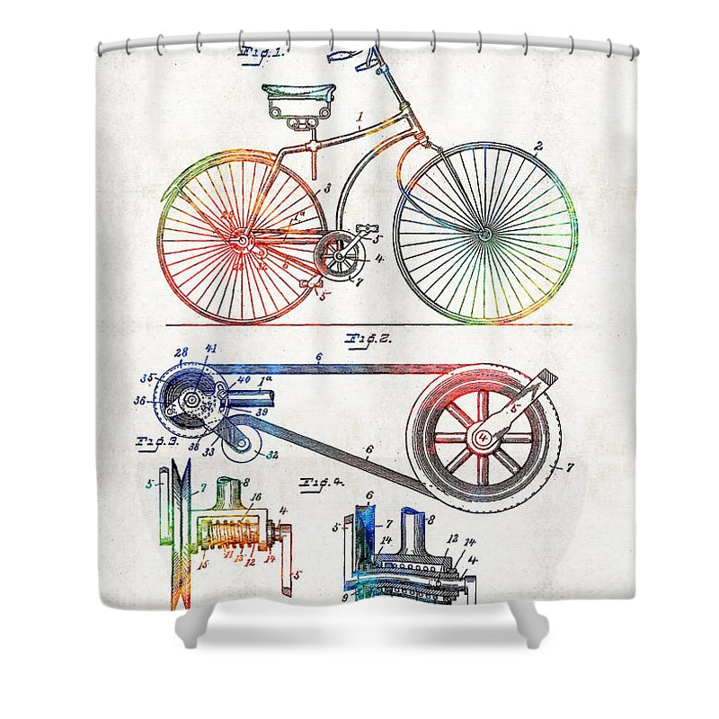 Bike Shower Curtain featuring the painting Colorful Bike Art - Vintage Patent - By Sharon Cummings by Sharon Cummings