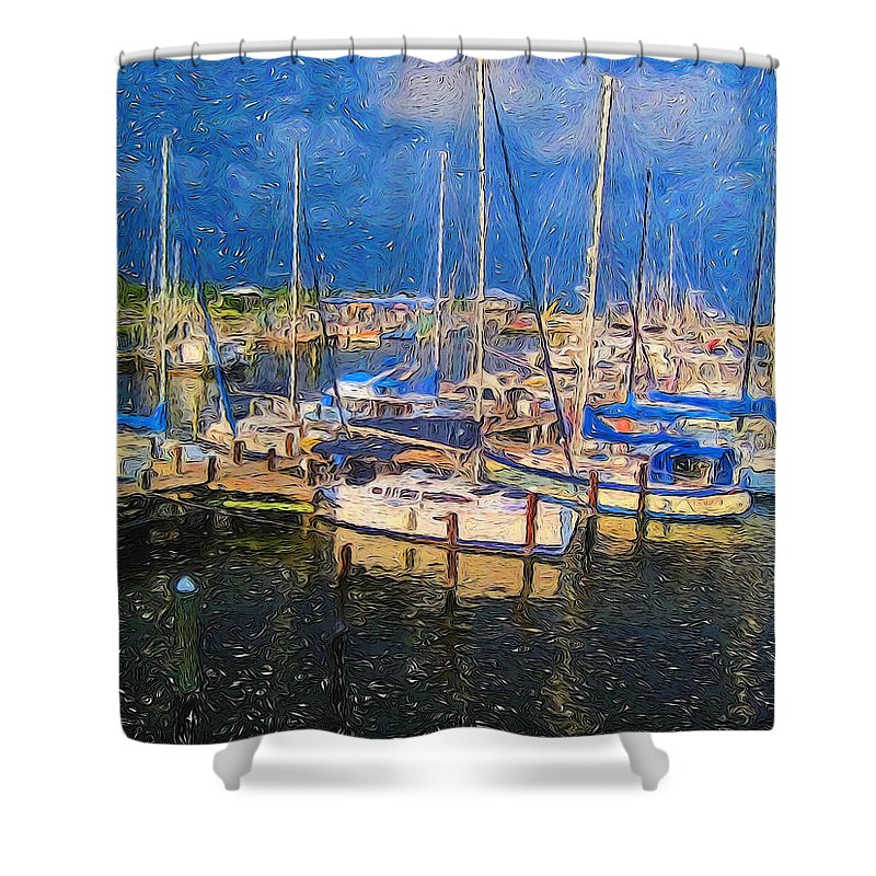 Colorful Boat Harbor Shower Curtain featuring the photograph Colorful Boat Harbor Sailboats Shrimp Boats by Rebecca Korpita