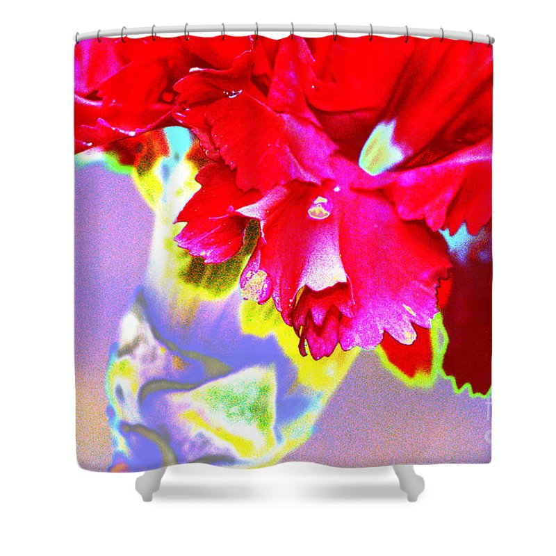 Color Shower Curtain featuring the digital art Colorful Carnation by Carol Lynch