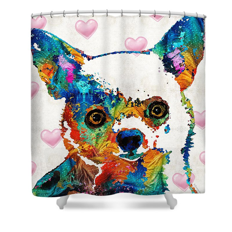 Chihuahua Shower Curtain Featuring The Painting Colorful Art By Sharon Cummings