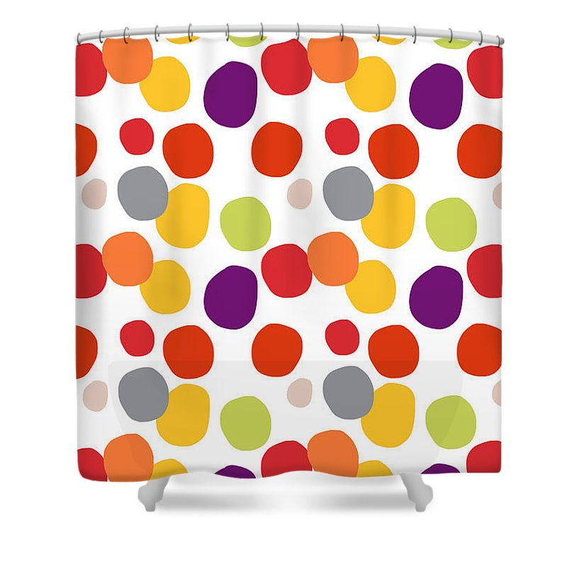 Circles Shower Curtain Featuring The Painting Colorful Confetti By Linda Woods