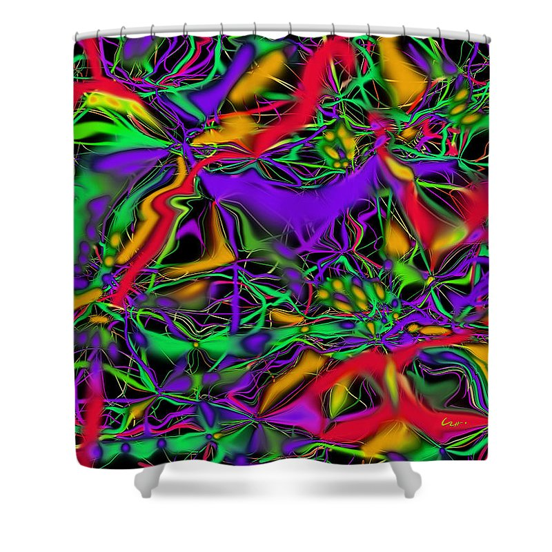 Colorful Connections Shower Curtain featuring the mixed media Colorful Connections by Carl Hunter