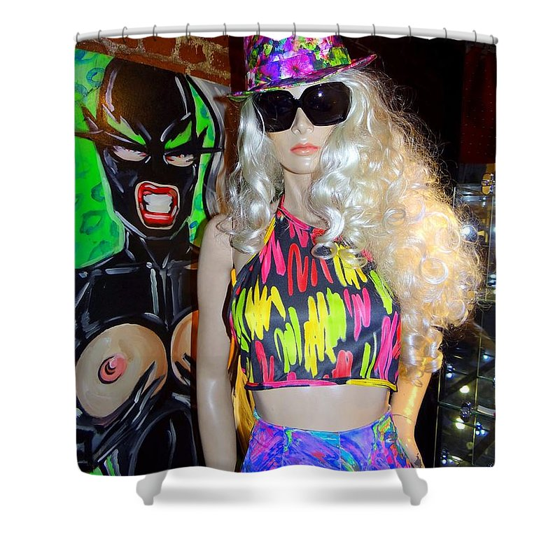 Mannequins Shower Curtain featuring the photograph Colorful Cutie by Ed Weidman