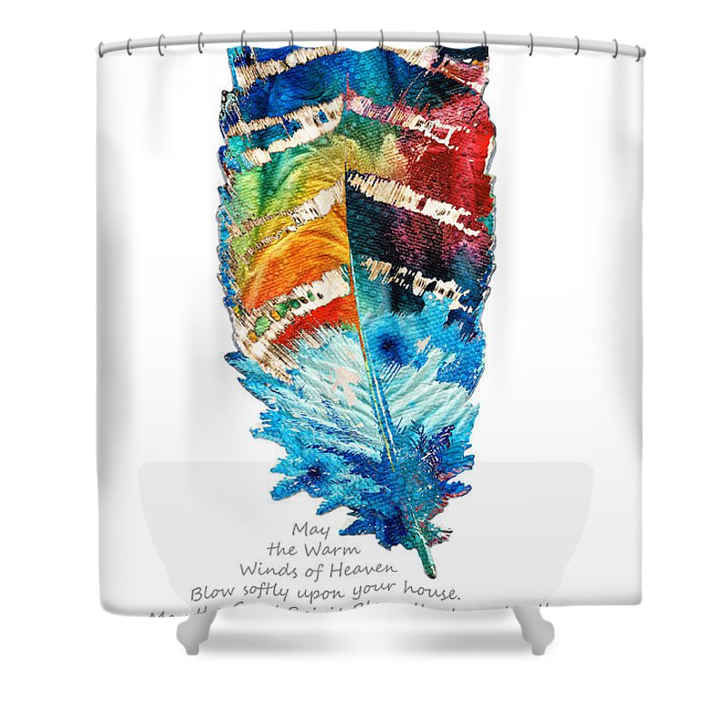 Feather Shower Curtain Featuring The Painting Colorful Art