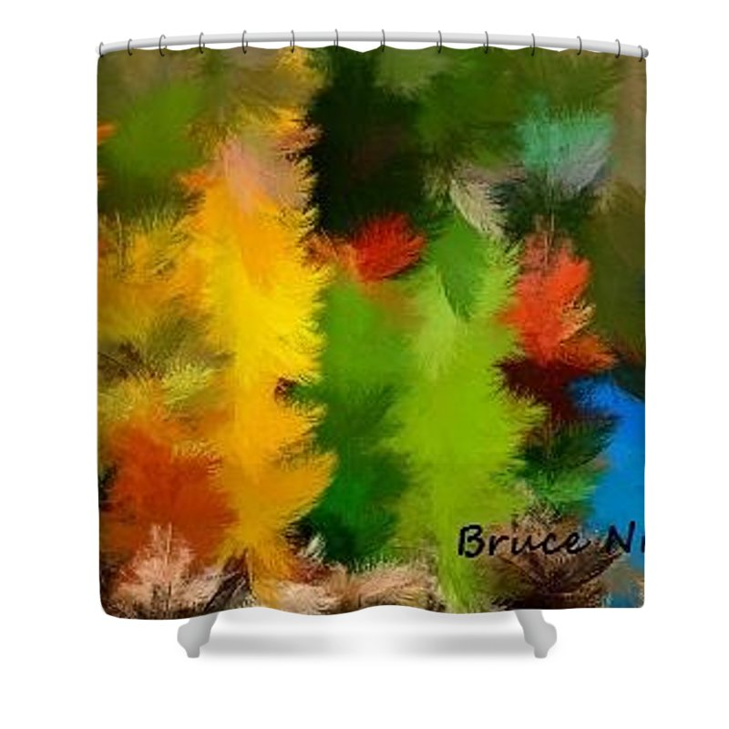 Feather Shower Curtain featuring the painting Colorful Feathers by Bruce Nutting
