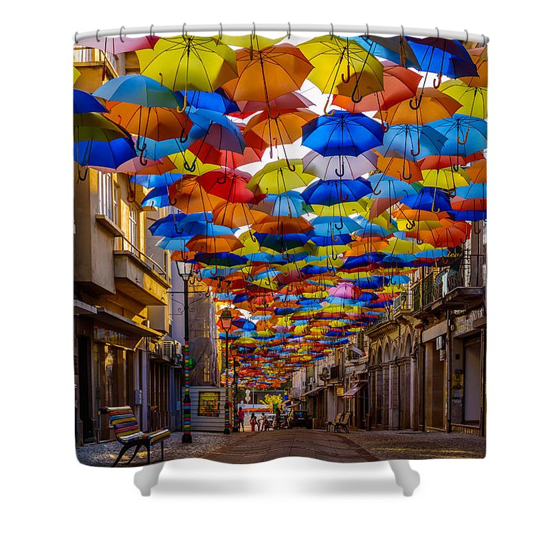 Colorful Floating Umbrellas Shower Curtain featuring the photograph Colorful Floating Umbrellas by Marco Oliveira