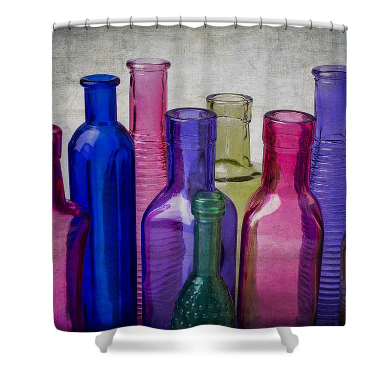 Colorful Shower Curtain featuring the photograph Colorful Group Of Bottles by Garry Gay