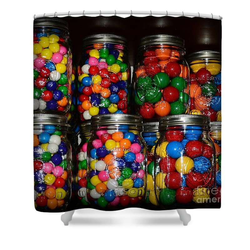Paul Ward Shower Curtain featuring the photograph Colorful Gumballs by Paul Ward