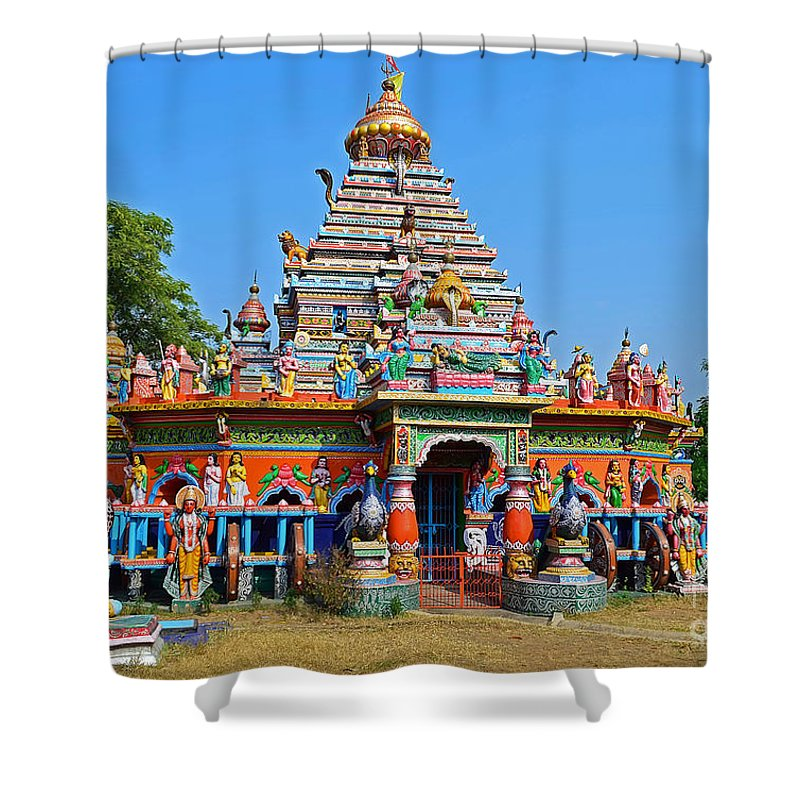 Temple Shower Curtain featuring the photograph Colorful Hindu Temple by Image World