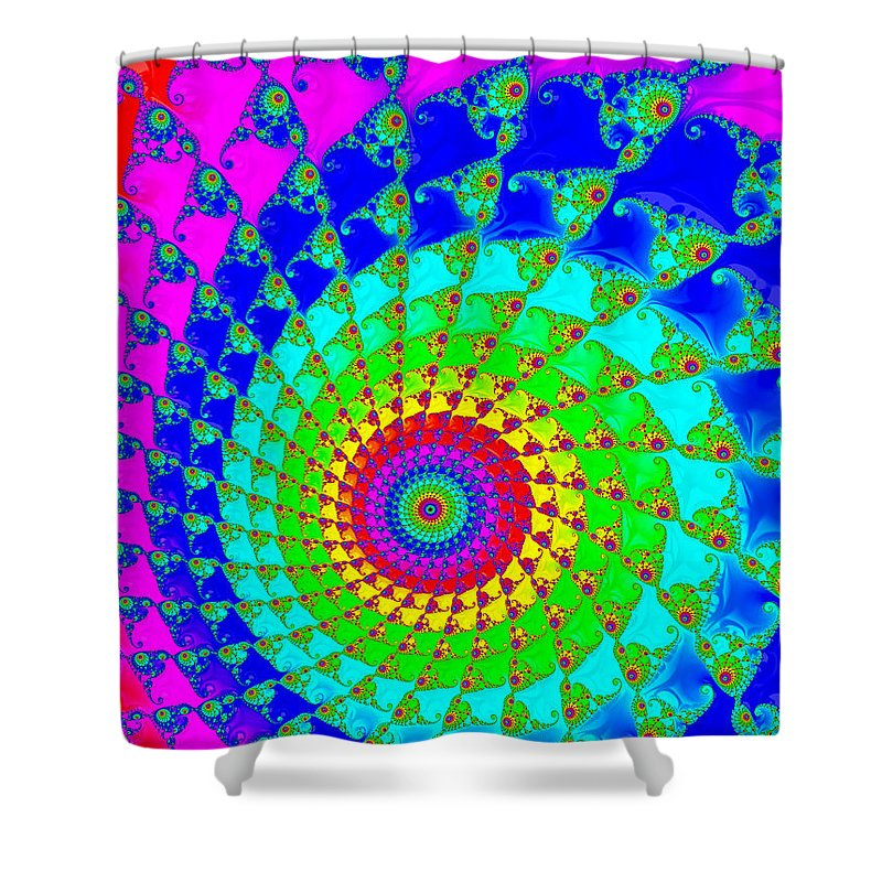 Spiral Shower Curtain Featuring The Digital Art Colorful Hypnotizing Fractal Purple Blue Green Yellow By